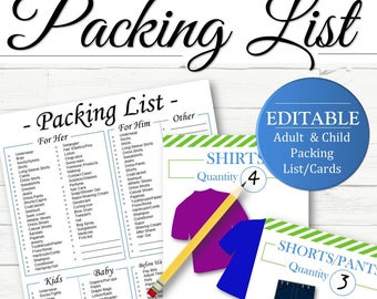 EDITABLE All-In-One Packing List with Kids Packing Cards - INSTANT DOWNLOAD