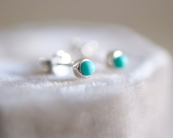 Mini Turquoise earrings. Sterling silver tiny Turquoise studs. 3mm. Tiny Turquoise studs, Blue Turquoise studs, silver mini studs.