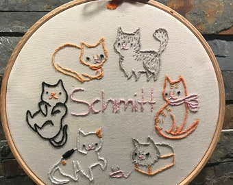 Cute hand embroidered cats with customizable name option