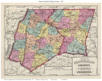 Frederick county map Etsy