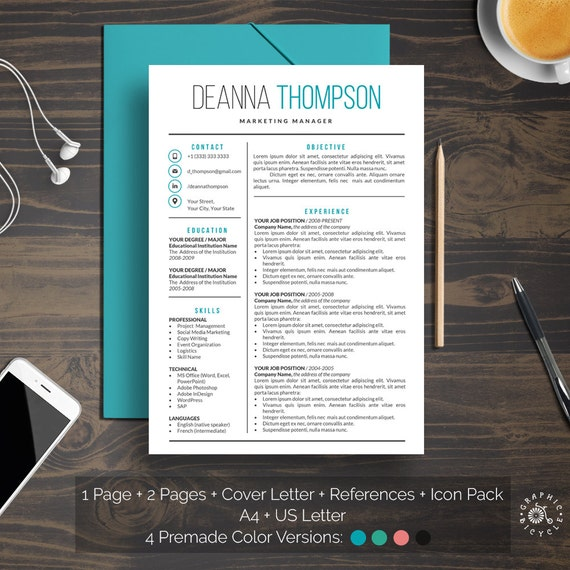professional resume template word instant download clean cv