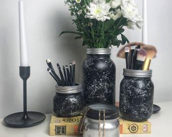Black Marble Mason Jar - Flower Vase - Make up Brush Holder - Stationary holder - Desk Accessories - Bedroom decor - Dorm room decor - Gold