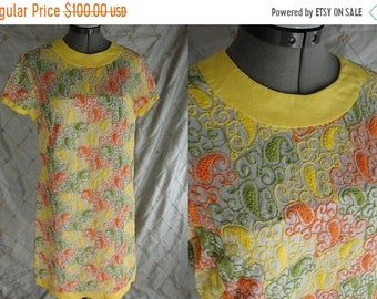 "ON SALE 60s 70s Dress // Vintage Yellow Orange Green Paisley Embroidered Dress by R&K Originals Size L 30"" waist"