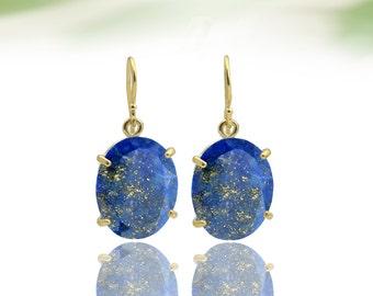 MOTHER'S DAY SALE - Lapis earrings,Gold earrings,customize earrings,dangle earrings,oval earrings,gemstone earrings,bridal earrings