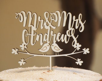 Personalised wedding cake topper, Personalized wedding cake topper, Wooden wedding topper, Love bird cake topper, Mr & Mrs cake topper
