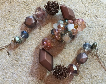 Brown Glass Statement Necklace, Beaded Necklace, Beadwork Necklace, Gift For Her, Trending Item