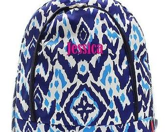 Monogrammed Backpack Personalized Ikat Sky Blue Backpack Personalized Backpack Kids Backpack Girls Backpack Boys Backpack