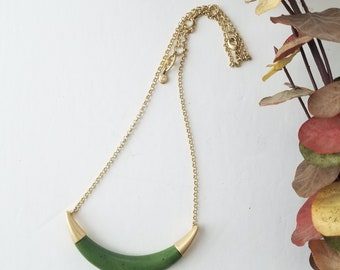 Green Jasper and Gold Crescent Necklace