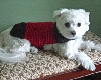Brown and Red Hand Crochet Dog Sweater 100 Percent WOOL