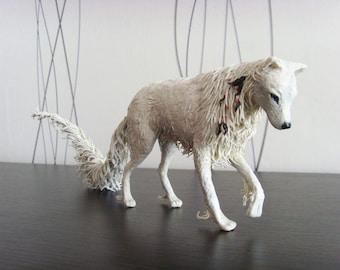 White wolf statue - original handmade OOAK fantasy animal sculpture figure figurine creature totem surreal