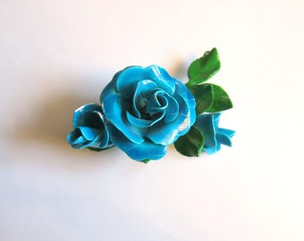 Teal blue rose Brooch 40s 50s