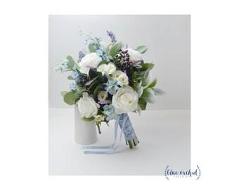 Wedding Bouquet, Boho Bouquet, Bridal Bouquet, Blue Bouquet, Faux Bouquet, Artificial Flower Bouquet, Wedding Flowers, Blue, White, Cream