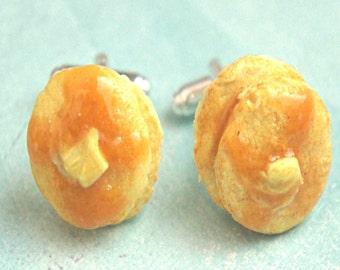 pancakes cuff links- miniature food, pancake tie tacks, breakfast cuff links