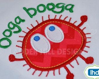 Ooga Booga Monster One Applique Embroidery Design OB4A001