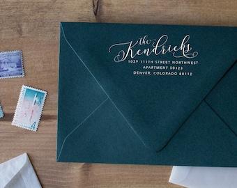 Personalized Stamp Return Address Stamp Calligraphy, Wooden Address Stamp Monogram, Personalized Stamp Family Address Stamp