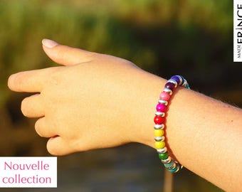 Multicolor bracelet with wood and silver pearls