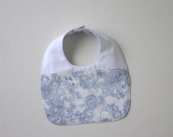 Girls's Baby Bib - SALE - Floral Baby Bib - Drooling Bib - Infant Bib - Early Feeding Bib - Blue Floral Bib - Baby Gift - Made 4U Designs