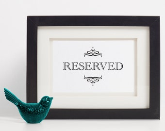 Wedding Reserved Sign, Reserved Table Sign, Reserved Wedding Sign, Reserved For Family, Reserved Chair Sign, Reserved Sign Printable