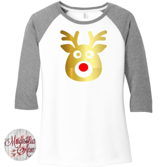 Rudolph the Red Nose Reindeer, Christmas Shirt, Womens Baseball Raglan 3/4 Sleeve Top in 6 colors, Sizes Small-4X, Plus Size Clothing