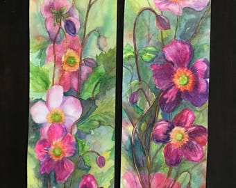 Two Original Watercolor Paintings Sold as a Set,Cheerful Blooms,Showing Magenta Lucky Charm Japenese Wind flowers, by Janet Dosenberry