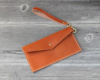 Leather Wristlet Clutch // Caramel