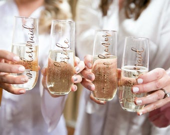 Stemless Champagne Flutes, Stemless Champagne Glasses, Bridesmaids Gift, Wedding Flutes, Bridesmaids Glasses, Personalized Champagne Glasses