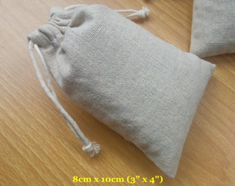"50 pcs 3""x4"" Plain Cotton Linen Bags Drawstring Pouches Jewelry Packaging Small Gift Bags"