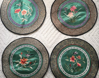 Embroidered satin silk flora fauna oriental scene good for wall hanging lot of four