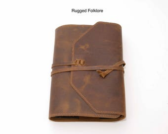 Leather Bible Cover - Large with Adjustable Wrap. Handcrafted with Purpose in the USA.