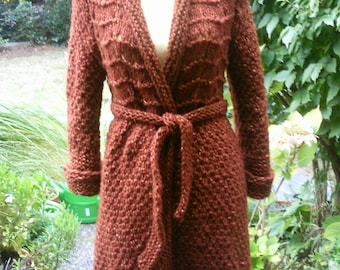 Knitted mantle, copper, Gr. 36-38 (S-m), knitted in pattern mix