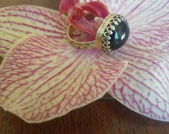 Natural Green Tourmaline & 14k Gold Ring