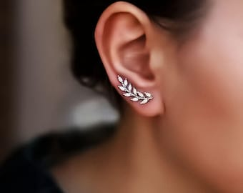 Tiny Leaf Ear Climber rose gold earrings bridesmaid earrings Laurel wreath ear climbers Ear Vine ear crawlers gold earrings wedding earrings