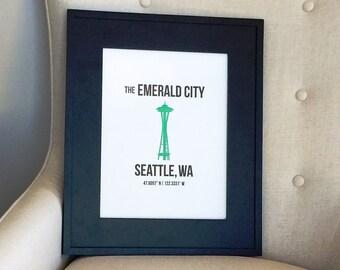 """10"""" x 13"""" Seattle Letterpress Wall Art"""