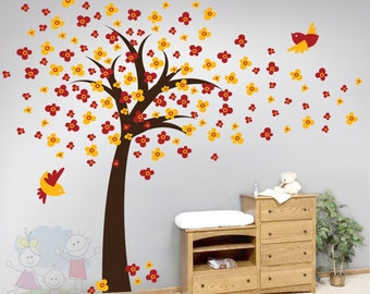 Wall Decal Wall Sticker tree decal - Cherry Blossom Tree With Birds - TRCB010R