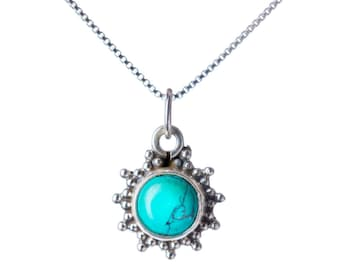 Turquoise Pendant Dainty Necklace  Handmade, Simple Jewellery Gift box, Free UK Delivery