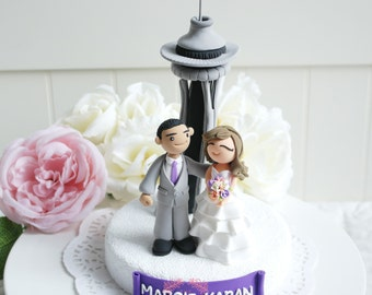 Custom Wedding Cake Topper- at Space needle in Seattle