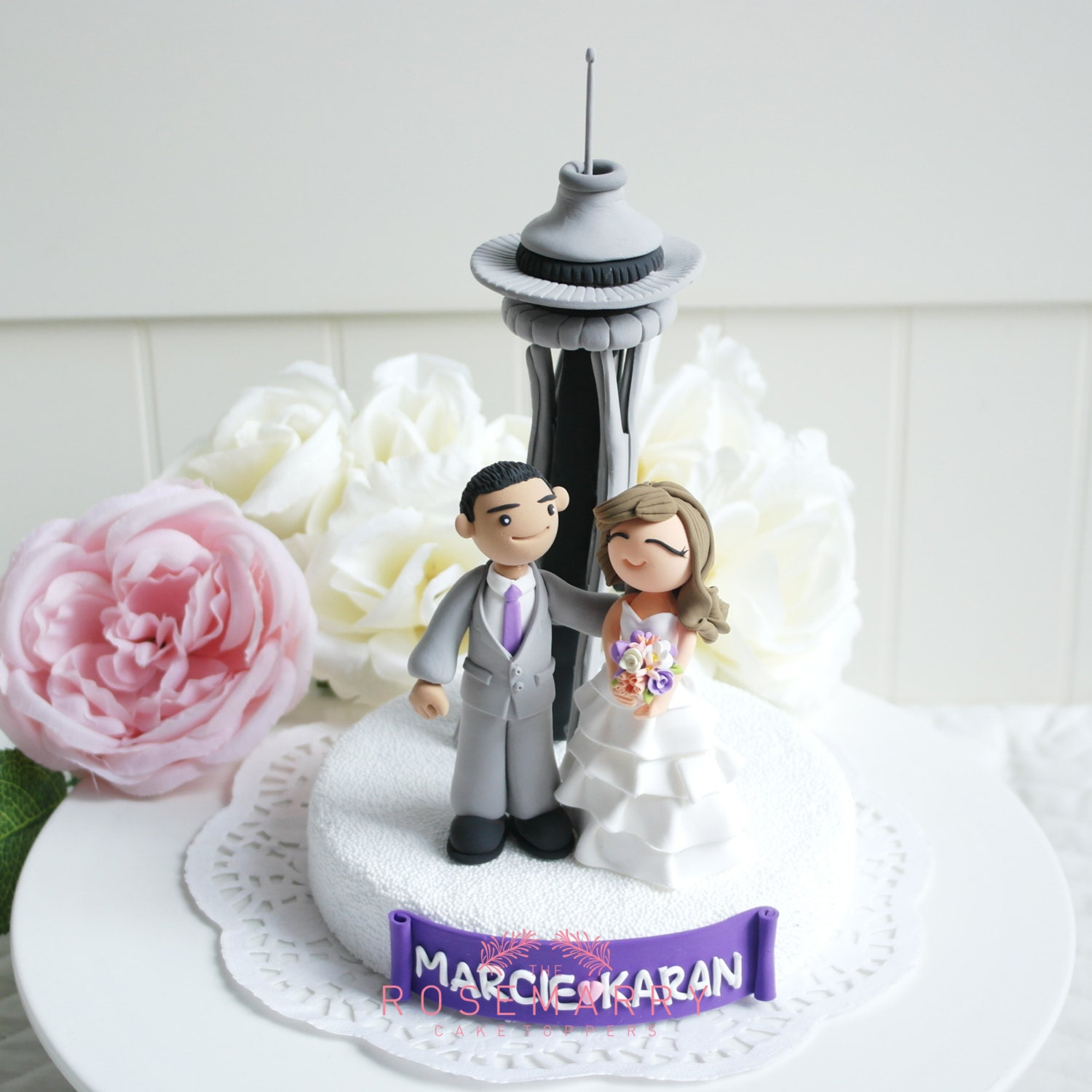 Custom Wedding Cake Topper at Space needle in Seattle
