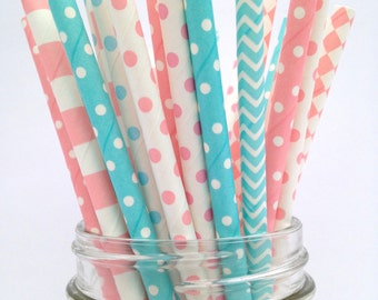 50 Gender Reveal Party Straws,Gender Reveal Decor Pink and Blue Paper Straws, Baby Shower Straws, Boy or Girl Party Straws