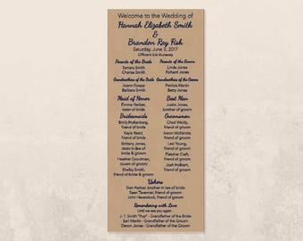 PRINTABLE Rustic Elegant Wedding Program