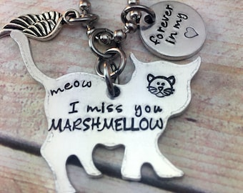 Cat Memorial Necklace, Pet Loss Jewelry, Bereavement Necklace, Gift for friend
