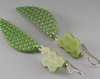 Spring Green Silver Hex Pattern - Shield Dangle Earrings No. 193