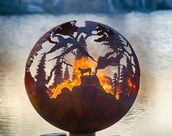 "High Mountain Fire Pit - 37"" Custom Outdoor Hand Cut Steel Firepit Sphere"