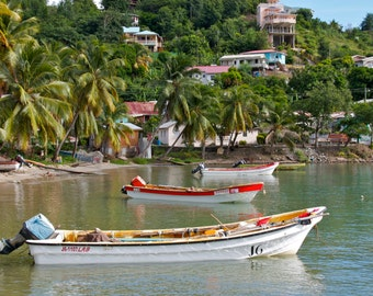 St. Lucia Photography - Boat Print - Caribbean Art - Laborie Village - Honeymoon
