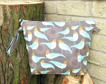 Medium Knitting Project Bag, Aqua Birds Zippered Bag, large Mouth  Sweater or Shawl Knitting Bag - Plovers