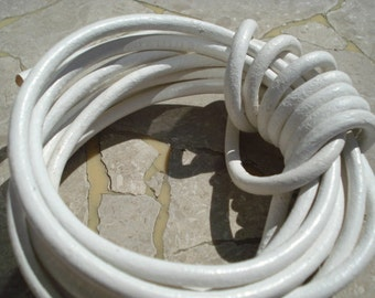White Round Leather Cord 5 mm Cording 2 yards Snow