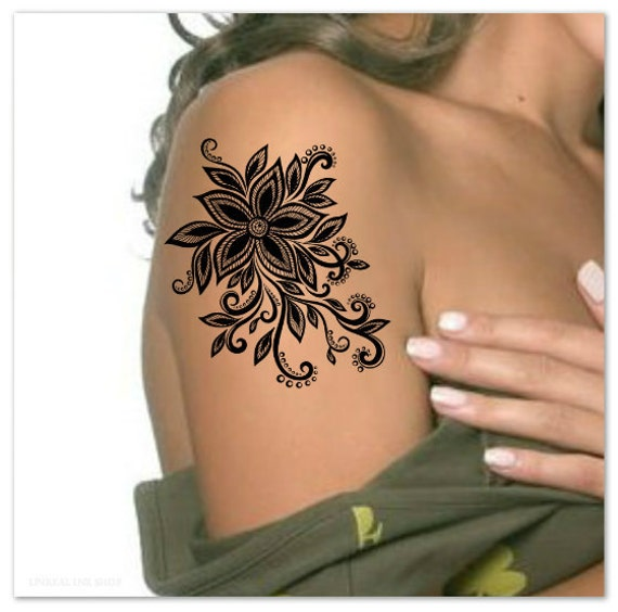 Temporary tattoo flower waterproof ultra thin realistic fake for Fake tattoo creator