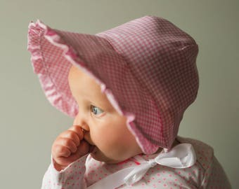 pink gingham bonnet