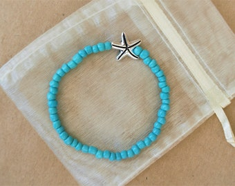 Beaded Starfish Bracelet, Starfish Bracelet Women, Starfish Bracelet Silver, Starfish Jewelry, Starfish Jewelry Women, Nautical Bracelet