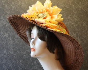 Brown Kentucky Derby Hat, Derby Hat, Garden Party Hat, Tea Party Hat, Easter Hat, Church Hat, Wedding Hat, Downton Abbey  Brown Hat 337