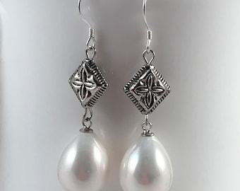 Shell pearl earrings, sterling silver hook, wedding jewelry, free shipping